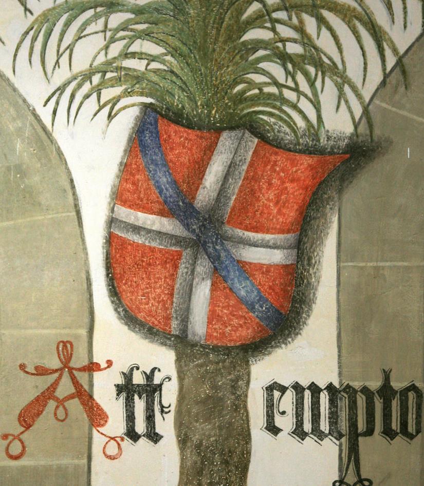 Wappen der Mechthild von Savoyen-Achaia im Palmensaal von Schloss Urach; Foto: Staatliche Schlösser und Gärten Baden-Württemberg, Janna Almeida