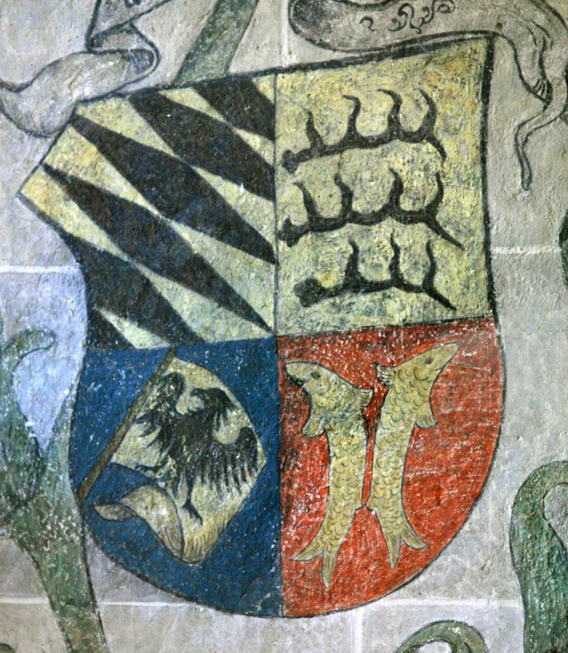 Wappen des Herzogs Ulrich von Württemberg im Palmensaal von Schloss Urach; Foto: Staatliche Schlösser und Gärten Baden-Württemberg, Janna Almeida