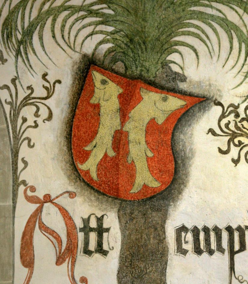Wappen von Mömpelgard im Palmensaal von Schloss Urach; Foto: Staatliche Schlösser und Gärten Baden-Württemberg, Janna Almeida