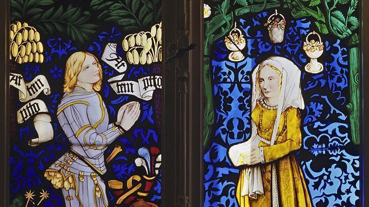 Graf Eberhard V. im Bart und Barbara Gonzaga, Glasmalerei im Chor der Stiftskirche in Tübingen (um 1476/78); Foto: Staatliche Schlösser und Gärten Baden-Württemberg, Arnim Weischer