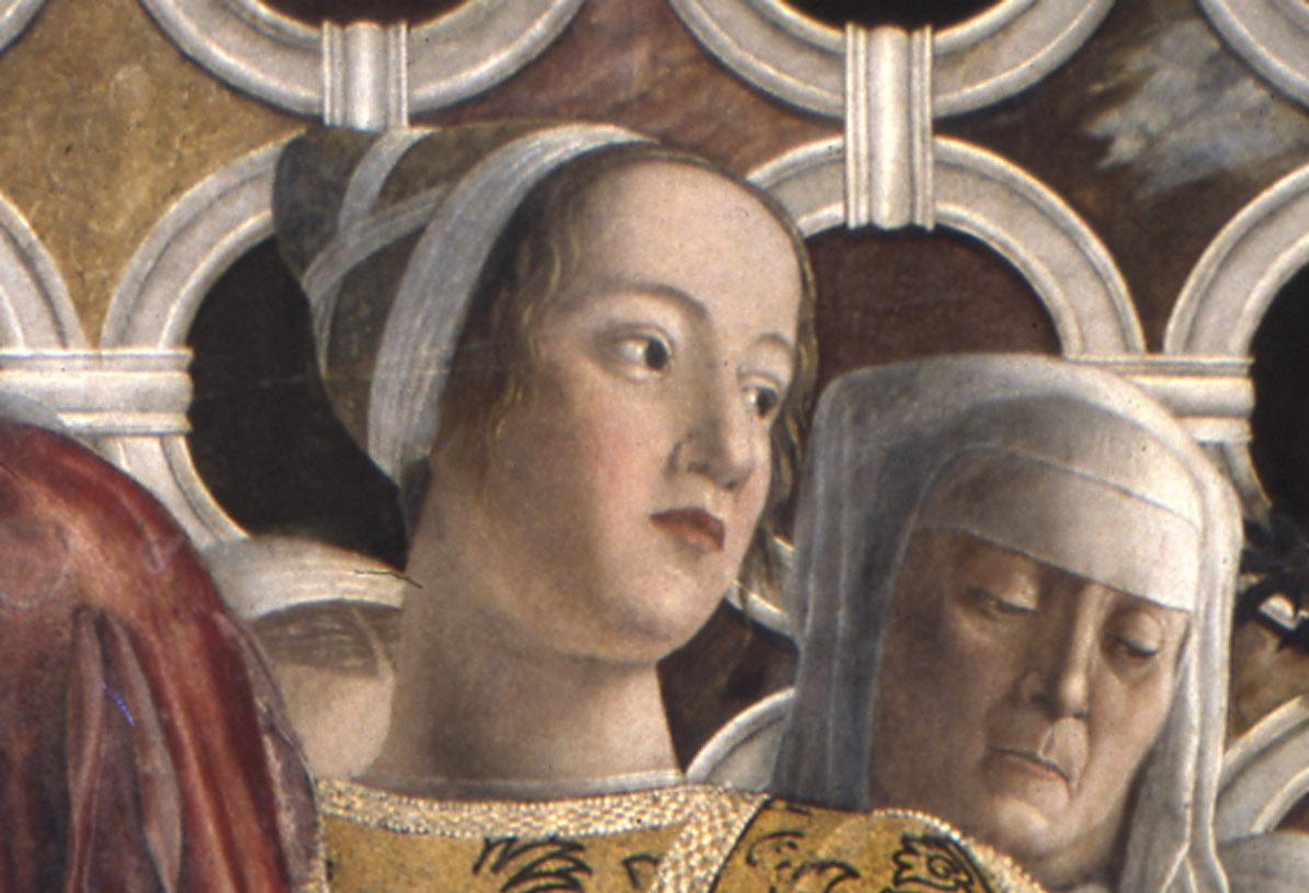 Porträt der Barbara Gonzaga in einem Wandbild von Andrea Mantegna; Foto: Wikipedia, gemeinfrei