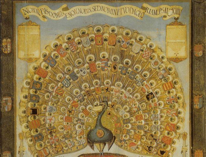 """""""Habsburger Pfau"""" mit den Wappen der Herrschaften des Hauses Habsburg, Augsburg 1555; Foto: Wikipedia, gemeinfrei"""