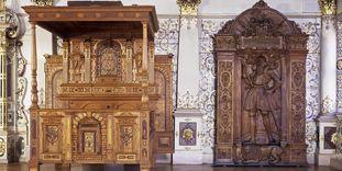 Renaissance-Brautbett im Goldenen Saal von Schloss Urach