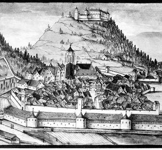 Blick auf die befestigte Stadt Urach, Aquarell um 1616; Foto: Landesmedienzentrum Baden-Württemberg, Robert Bothner