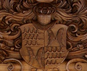 The count's coat of arms in the model gable, Golden Hall, Urach Palace