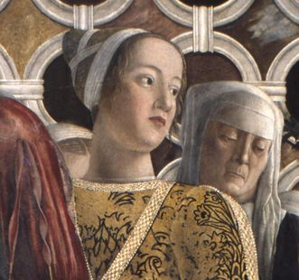 Portrait of Barbara Gonzaga in a mural by Andrea Mantegna. Image: Wikipedia, in the public domain