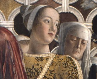 Portrait der Barbara Gonzaga in einem Wandbild von Andrea Mantegna; Foto: Wikipedia, gemeinfrei