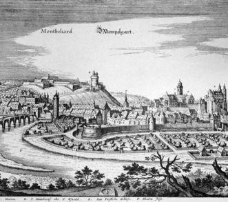 Kupferstich des Merians von Mömpelgard um 1160