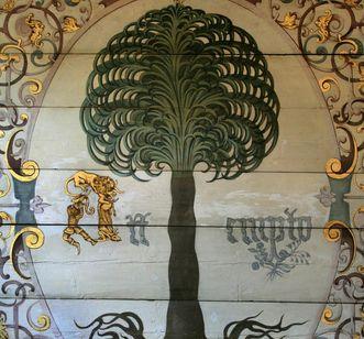 Detail der Wandmalerei im Goldenen Saal in Schloss Urach
