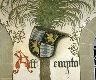 Detail der Wandmalerei im Palmensaal von Schloss Urach