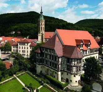 Aerial view of Urach Residential Palace. Image: Staatliche Schlösser und Gärten Baden-Württemberg, Achim Mende