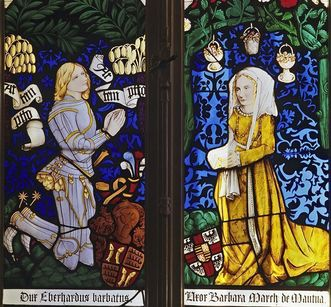 Stained glass window reproductions from the choir of the collegiate church in Tübingen, today in the palace church of the old palace in Stuttgart. Image: Staatliche Schlösser und Gärten Baden-Württemberg, Arnim Weischer
