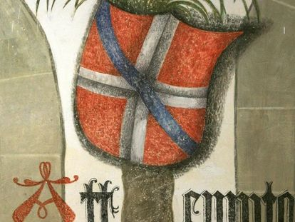 Image: Mechthild von Savoyen-Achaia's coat of arms in the Hall of Palms, Urach Palace